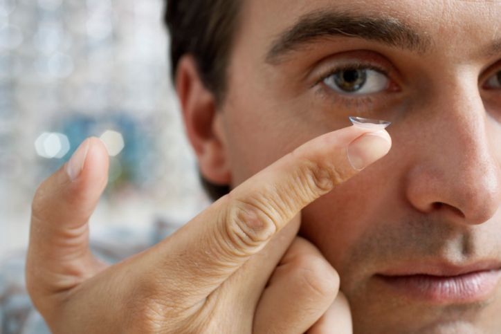 Contact Lens on Fingertip